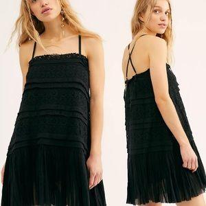 Free People Shailee Black Slip Mini Dress